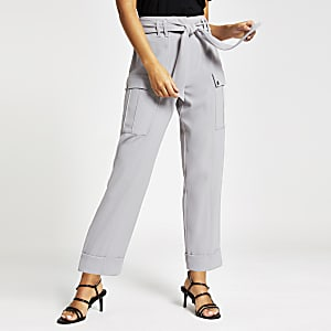 Grey utility peg trousers