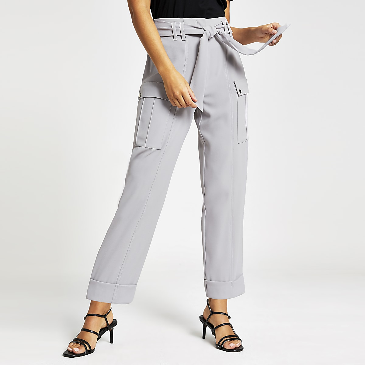 Grey utility peg trousers