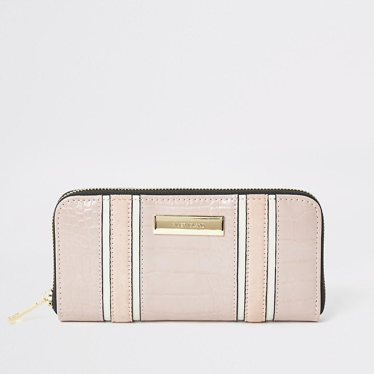 Roze portemonnee met rits rondom en krokodillenprint