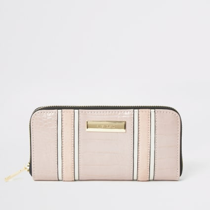 Pink croc embossed zip around purse