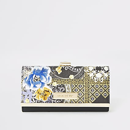 Black floral printed cliptop purse