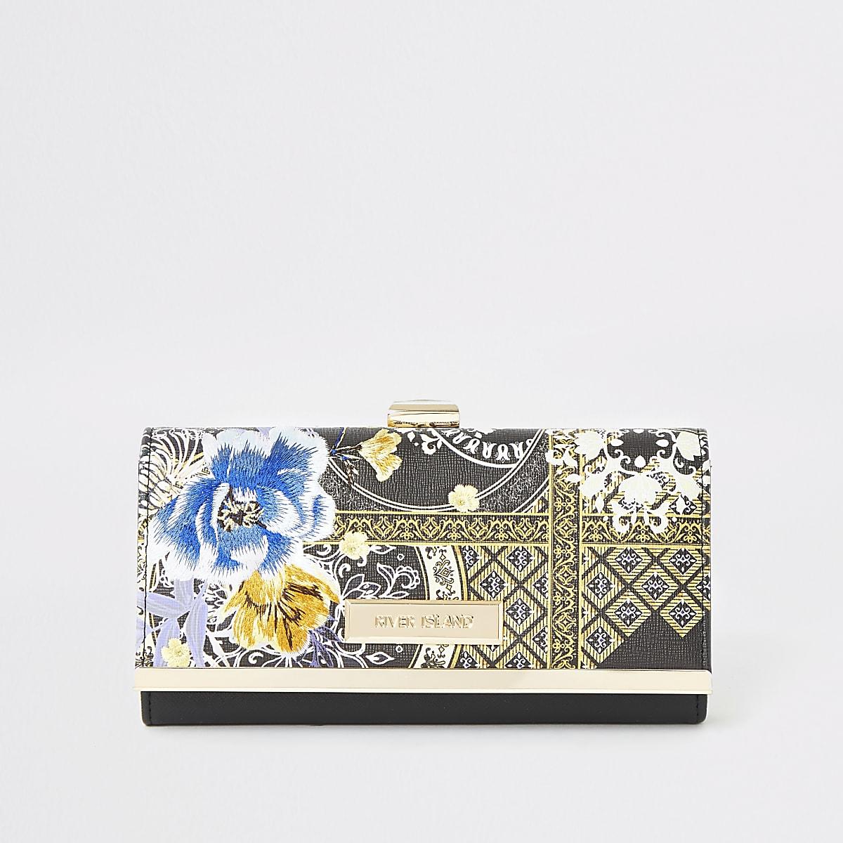 Black floral printed cliptop purse