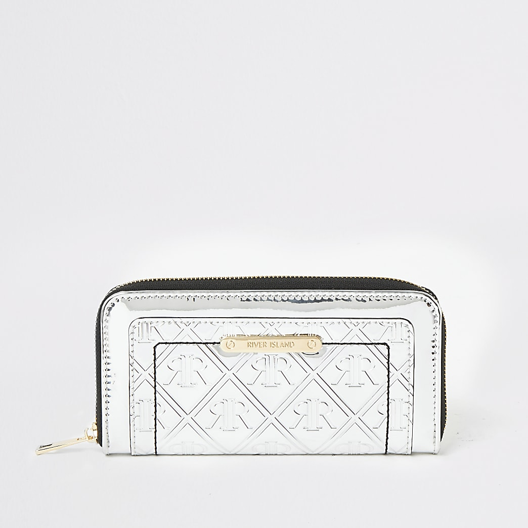 Silver RI embossed zip around purse