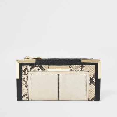 Beige Snake Print Quilted Fold Out Purse by River Island