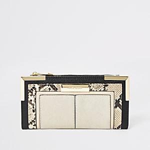 Beige uitvouwbare portemonnee met slangenprint