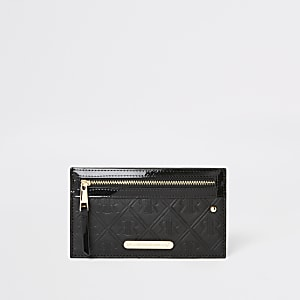 Schwarze Lack-Geldbörse mit Kartenhalter und RI-Monogramm