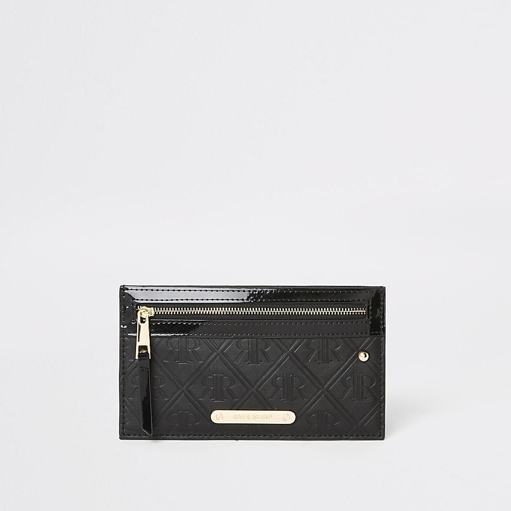 Black patent RI monogram card holder purse