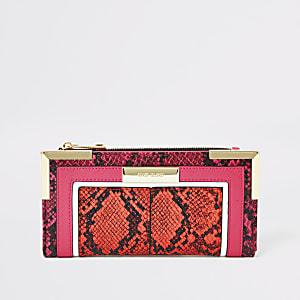 Helder oranje uitvouwbare portemonnee met slangenprint in reliëf