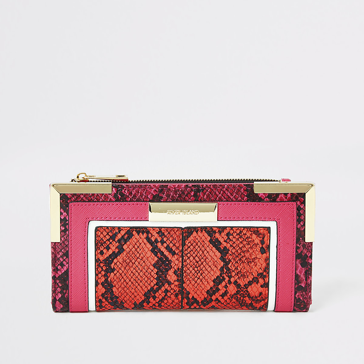 Bright orange snake embossed fold out purse