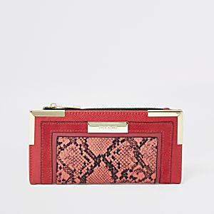 Porte-monnaie à rabat imprimé serpent rouge