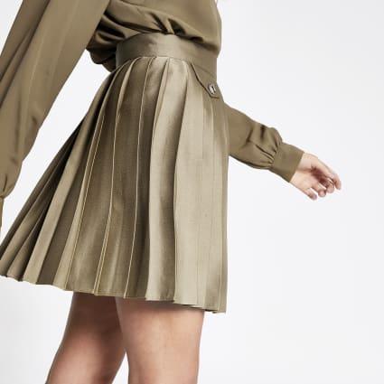 Khaki pleated mini skirt