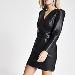 Petite - Mini-robe portefeuille en simili cuir