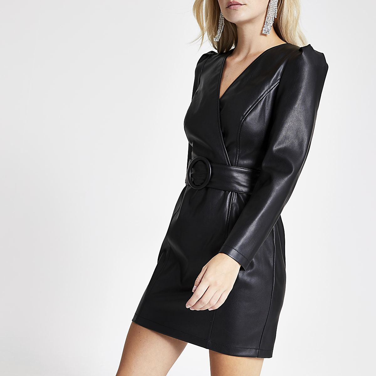 Petite faux leather wrap front mini dress