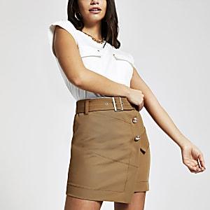 Mini-jupe utilitaire beige