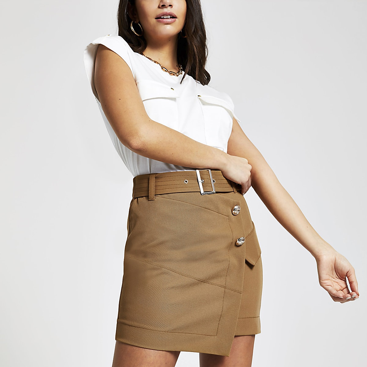 Beige utility mini skirt