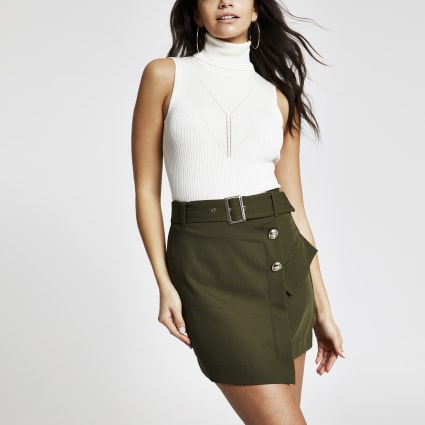 Khaki utility mini skirt