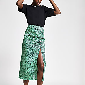 Green spot ruched midi skirt