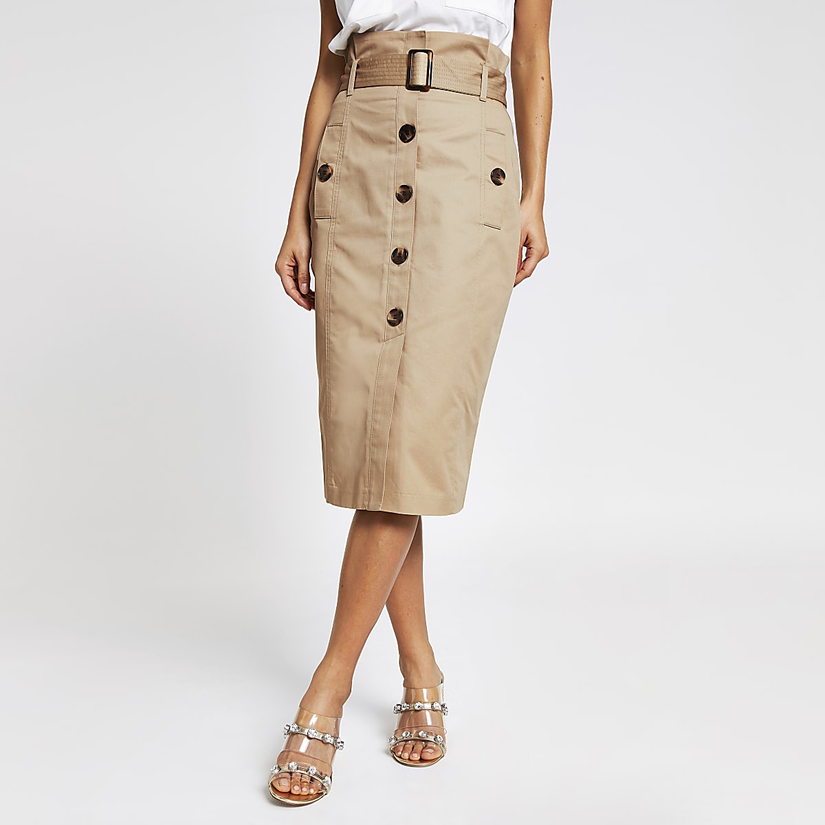 quality design large discount on wholesale Beige belted pencil skirt