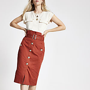 Rust belted pencil skirt