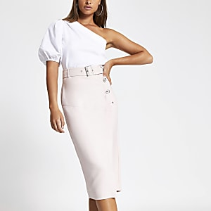 Light pink belted pencil skirt