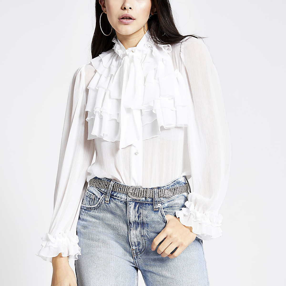White long sleeve ruffle front blouse