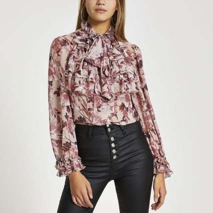 Pink floral long sleeve ruffle blouse
