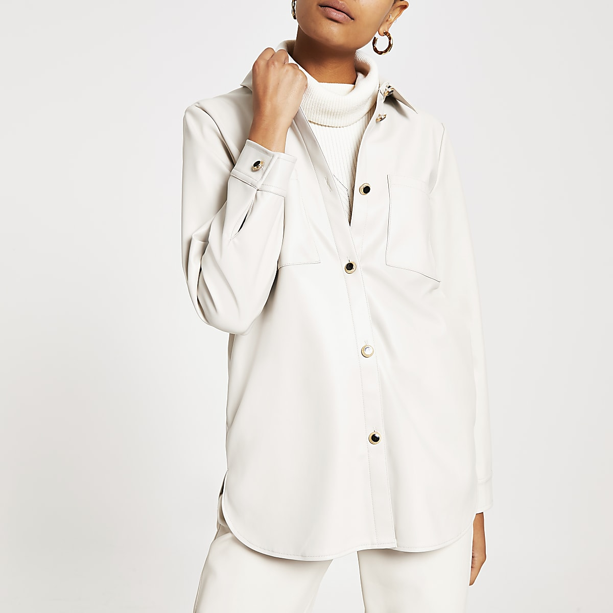 Cream faux leather long sleeve overshirt