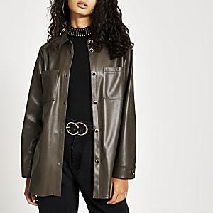 Khaki faux leather overshirt