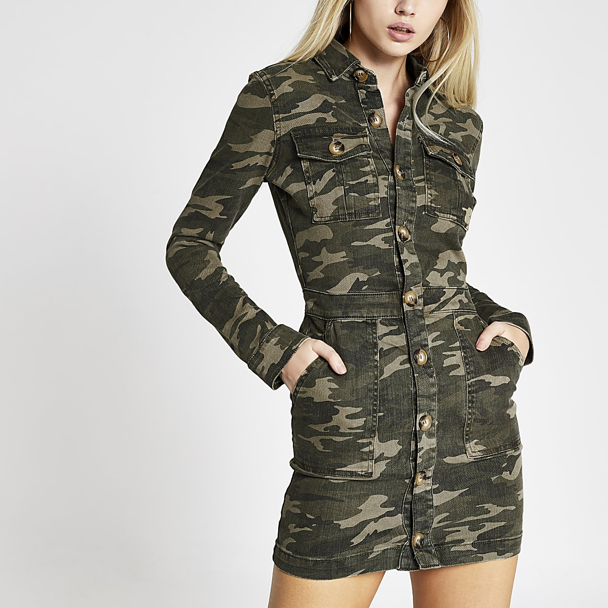 Khaki camo fitted denim utility shirt dress
