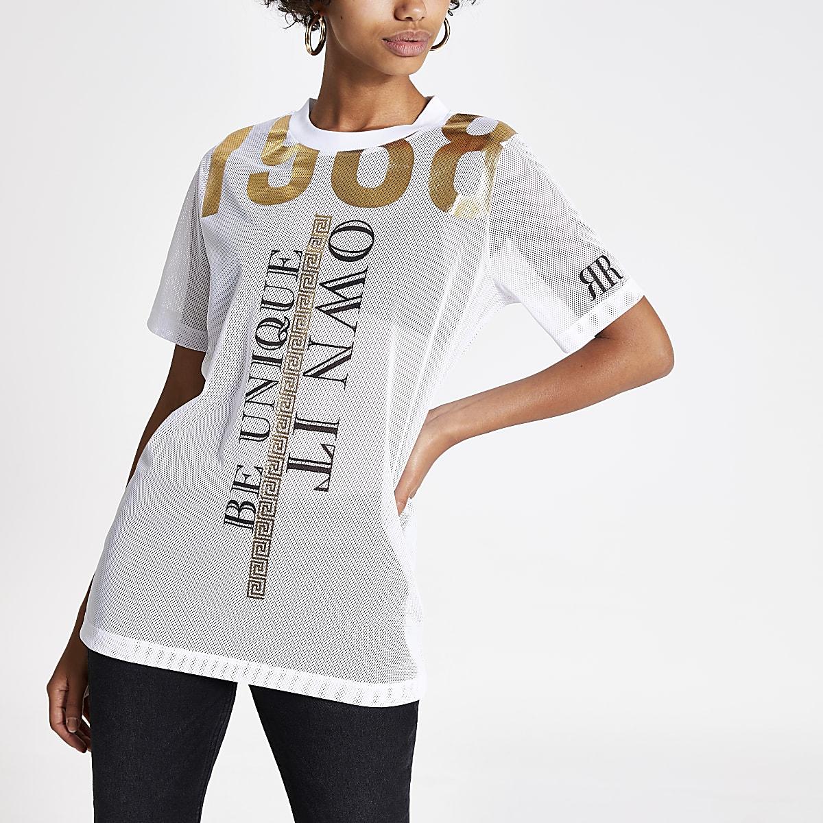 White 'Be Unique' mesh T-shirt