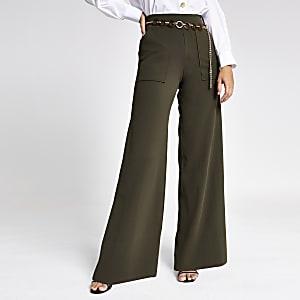 Khaki belted wide leg trouser