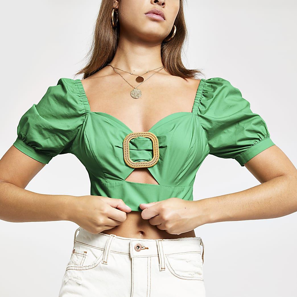 Green buckle puff sleeve crop top