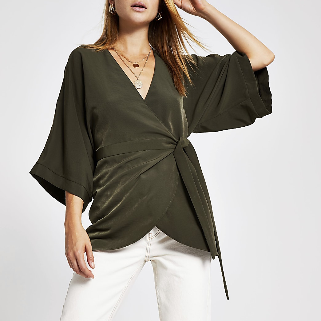 Khaki wrap tunic top