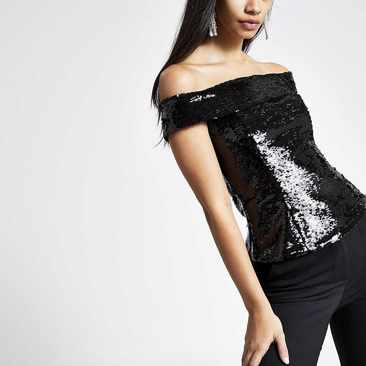 Black sequin embellished bardot top