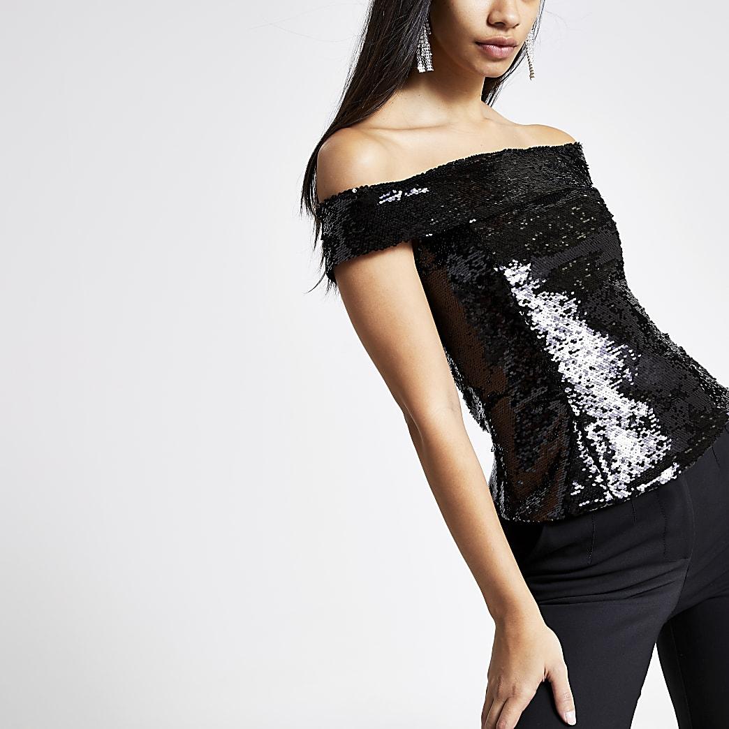 Black sequin embellished bardot top