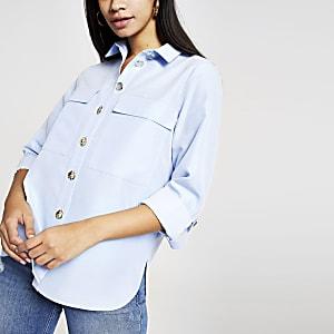 Blauw utility overhemd