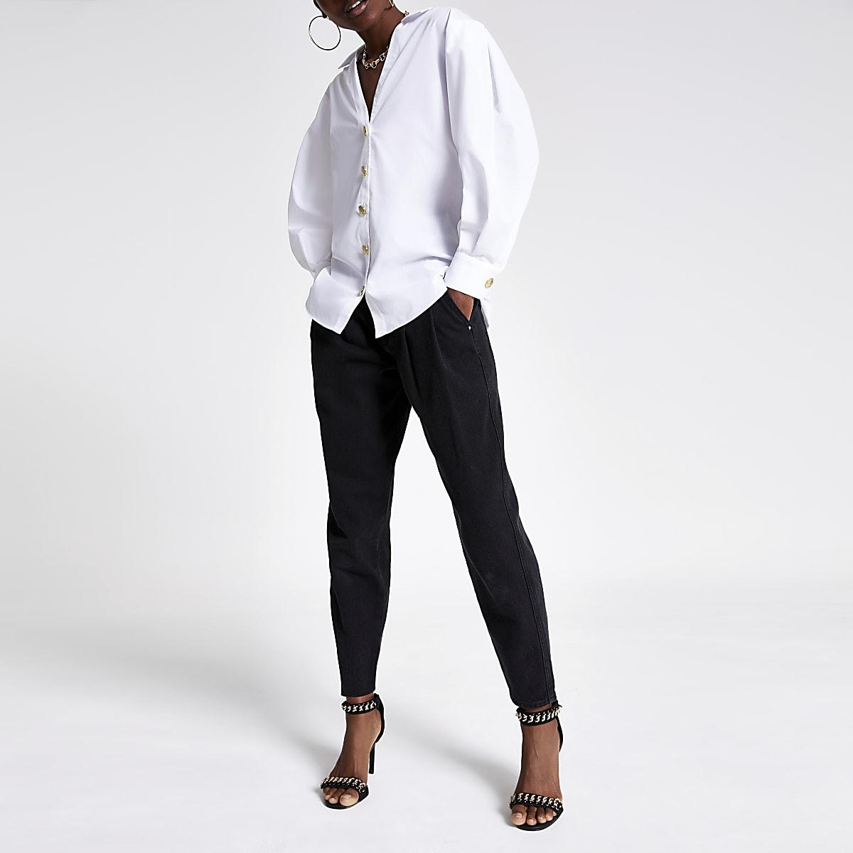 White puff sleeve shirt