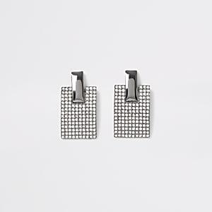 Boucles d'oreilles argentées rectangulaires pavées de strass