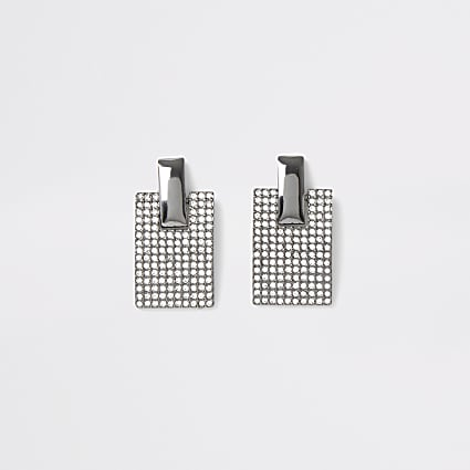 Silver colour pave rectangle earrings