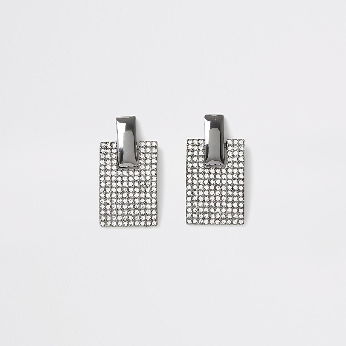 Zilverkleurige rechthoekige oorbellen