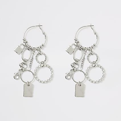 Silver colour chain cluster hoop earrings
