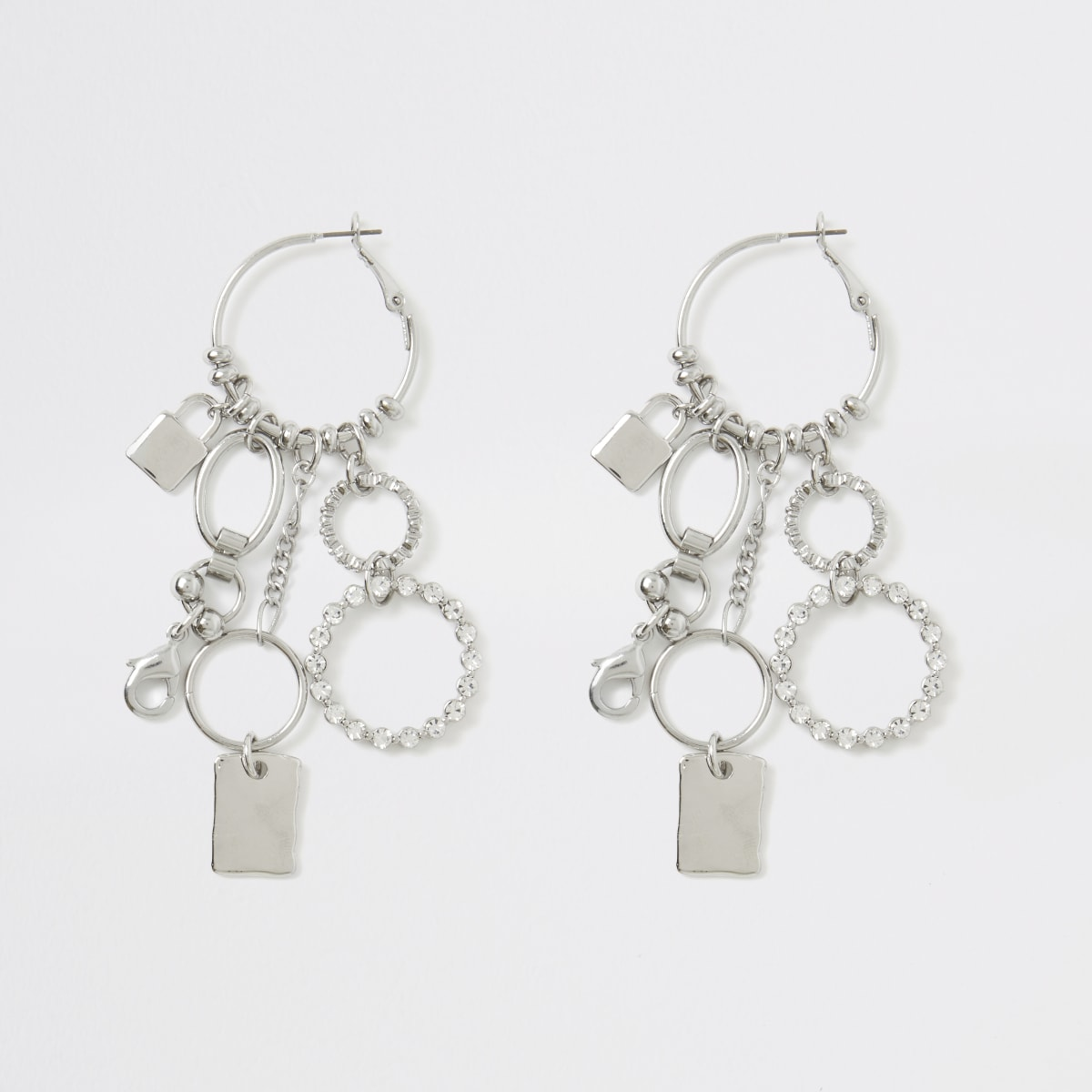 Silver colour chain cluster hoop earrings