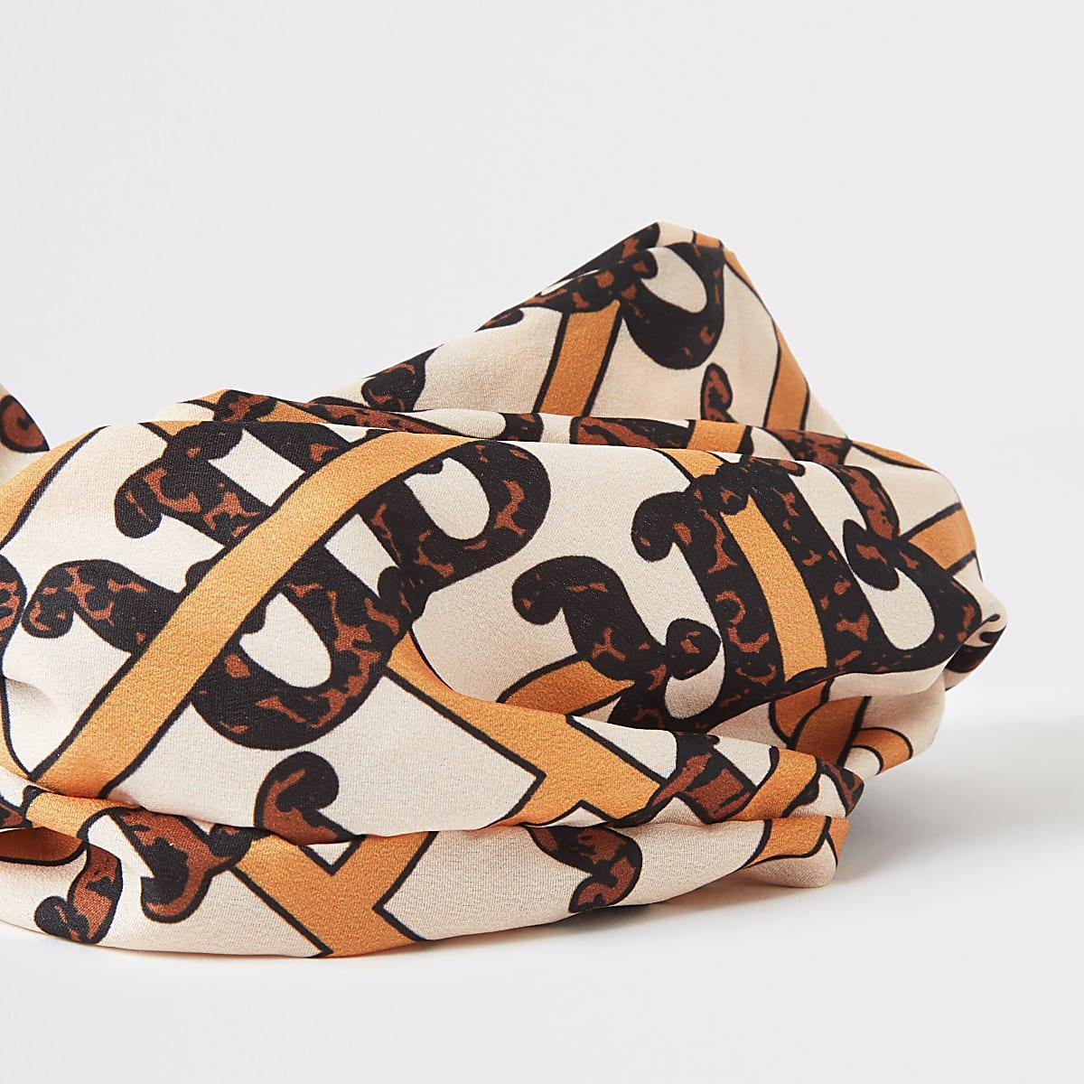 Brown RI print headband