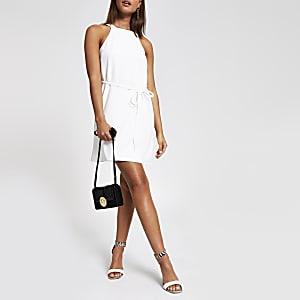 White high neck tie waist swing dress