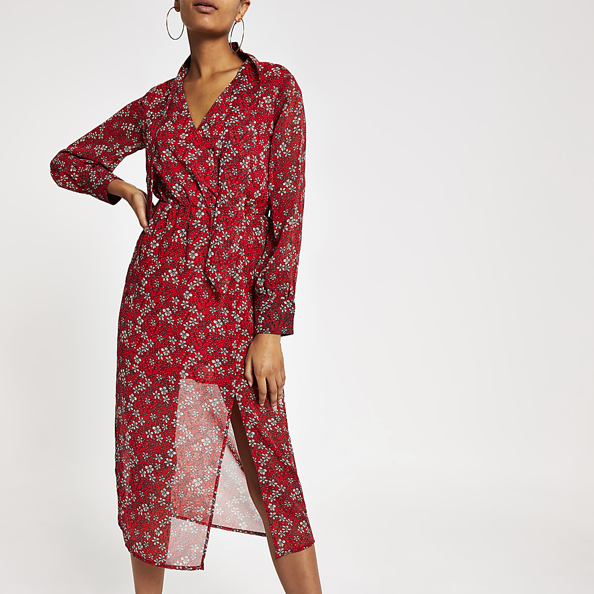 Red printed waisted sheer midi dress