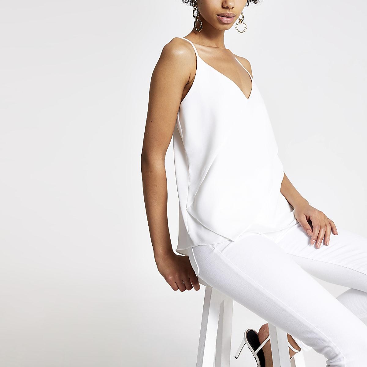 White asymmetric frill cami top