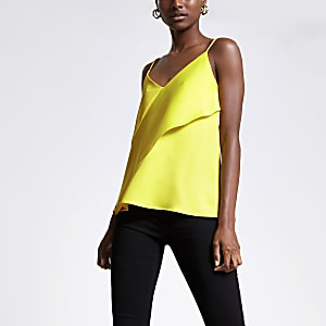 Yellow asymmetric cami top