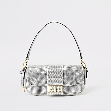Silver RI diamante underarm bag