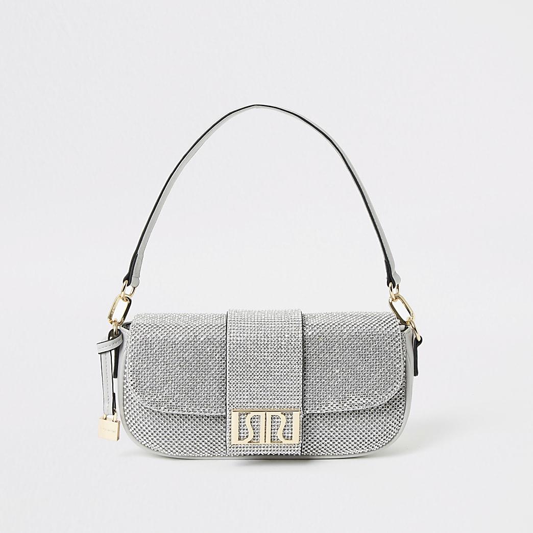 Silver RI diamante underarm bag