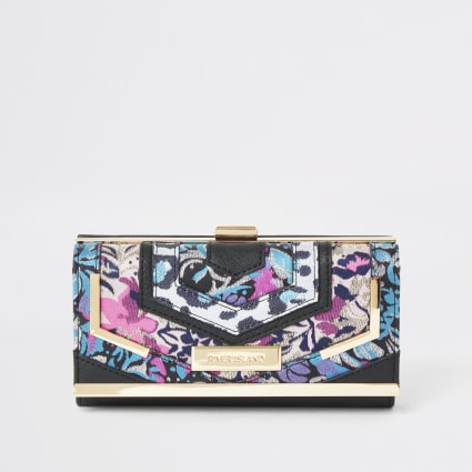 Black jacqaurd print cliptop purse